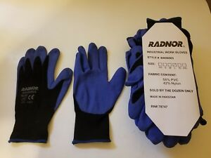Radnor Black Air Infused Pvc Palm Coated 15 Gauge Gloves Large pack Of 12