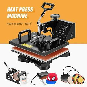 5 In 1 Swing Away Digital Heat Press Machine Sublimation T shirt Mug Plate Hat