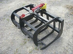 Bobcat Mt 55 Skid Steer Attachment 48 Root Rake Grapple Bucket Free Ship