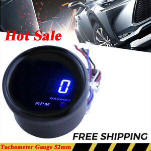 Car 2 52mm Blue Digital Led 0 9999 Rpm Tachometer Gauge Autometer Gauge