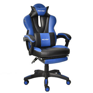 Ergonomic Gaming Chair Recliner Executive High Back Computer Leather Footrest Us
