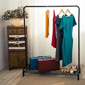 Vintage Heavy Duty Garment Rack With Top Rod And Lower Storage Shelf Us Supplier