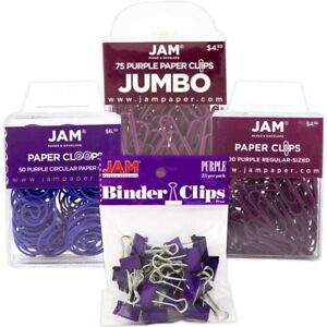 Jam Paper Office Clip Assortment Set Purple 1 Binder Clips 1 Round Paper