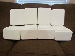 Lot Of 4 Styrofoam Mini Cooler Small Insulated Shipping Packing Box 11 X 9 X 8