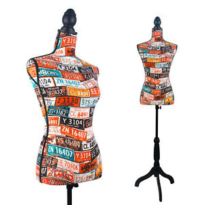 Female Mannequin Torso Dress Form Display Style on Black Tripod Stand