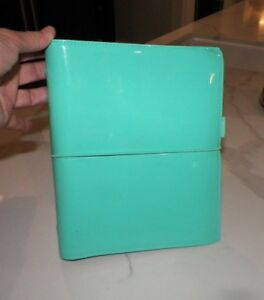 Filofax Domino Tiffany Blue Patent Leather Turquoise A5 Organizer