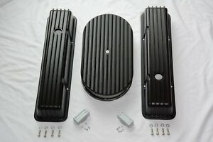 Sbc Black Finned Aluminum Tall Valve Covers 283 327 350 Chevy 15 Air Cleaner