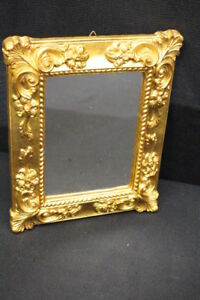 Vintage Framed Mirror Gilded Wood Made In Italy 8 X 10 Small Mirror Mint