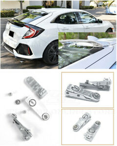 For 16 Up Honda Civic Hatchback Silver Rear Roof Wing Spoiler Riser Extensions