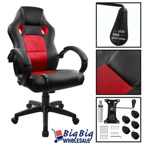 red Gaming Leather High Back Executive Office Desk Computer Chair Bucket Seat