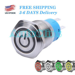 19mm Metal Latching Push Button Switch 1no 1nc On off Waterproof Led 12v