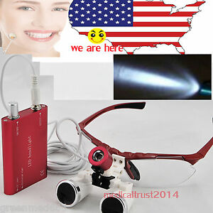 Red Dental Medical Loupes 3 5x 420mm Optical Glasses Metal Led Head Light Us