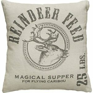 Primitives By Kathy 19934 Holiday Reindeer Feed Throw Pillow 15 Inch Square