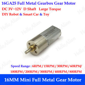 16mm Dc 3v 12v Mini Full Metal Gearbox Gear Motor Slow Speed Reduction Robot Car