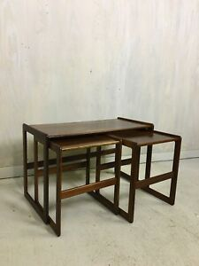 Danish Modern Hovemand Olsen Rosewood Nesting Tables Side Table Accent Table