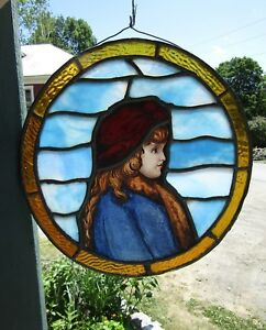Round Antique Stained Glass Portrait Window