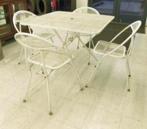 Vtg 5 Pc Salterini Rid Jid White Wrought Iron Mid Century Patio Dining Set