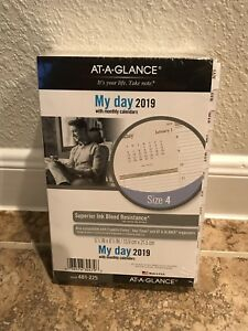 At a glance 2019 Planner Refill 2 Page Per Day Traditional White Daily Size 4
