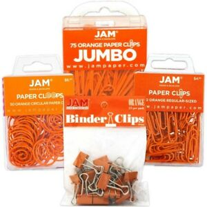 Jam Paper Office Clip Assortment Set Orange 1 Binder Clips 1 Round Paper