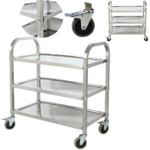 3 Shelf Stainless Steel Commercial Bus Cart Kitchen Food Catering Rolling Dolly