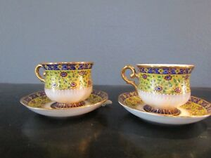 Antique Hand Painted Cup Saucer Thailand Set Of 2