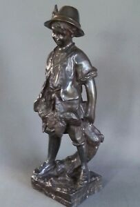 Antique August Moreau Boy Hunter Bronze Spelter Statue 20 5 Inches 20 Lbs