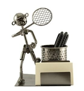 Happy Metal Tennis Player With Racket Pencil Pen And Business Card Holder Desk