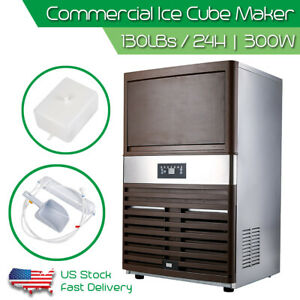 Automatic Commercial Ice Maker Stainless Steel Cube Ice Maker Machine 130lbs 24h