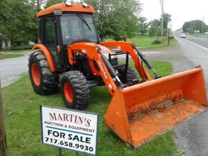 2008 Kioti Dk55 Cab Tractor Quicke Loader Compact Diesel 4x4 Runs Great