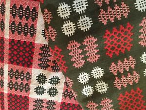 Antique C19th Welsh Wool Tapestry Blanket Quilt Vintage Throw Reversible