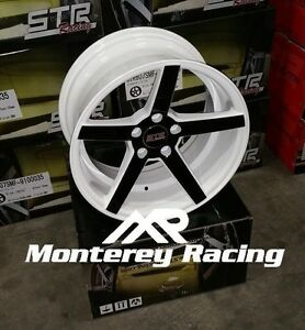 20x10 5 5x120 Str 607 White With Black Spokes Bmw Chevy Camaro Chrysler
