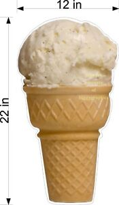 Diecut Sign Hand Dipped Vanilla Ice Cream Cone 12 X 22 you Choose Material
