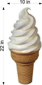 Diecut Sign Soft Serve Vanilla Ice Cream Cone 12 X 22 you Choose Material