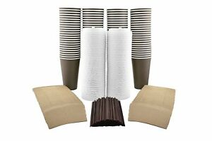 100 Pack 16 Oz Disposable Paper Coffee Cups Lids Sleeves And Stirring Straws