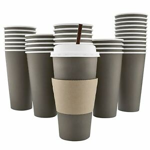 100 Pack 20 Oz Disposable Hot Paper Coffee Cups Lids Sleeves Stirring Straws