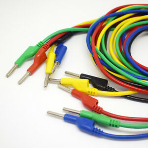 2sets 5 Colors 3m Silicone High Voltage Dual 4mm Banana Plug Test Leads Cable