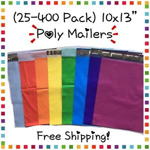 Free Shipping 25 400 Pack 10x13 Mixed Colors Poly Mailers