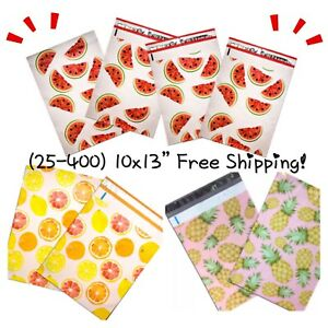 Free Shipping 25 400 Pack 10x13 Mixed Fruit Designer Poly Mailers