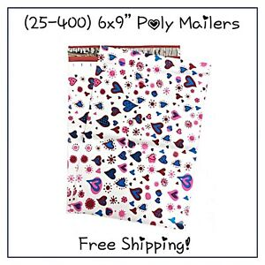 Free Shipping 25 400 Pack 6x9 Blue Hearts Designer Poly Mailers
