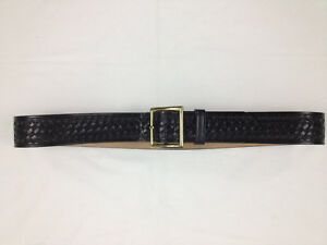 Dutyman 1621 Full Grain Leather Basketweave Police Belt Men s 38 Brass Buckle