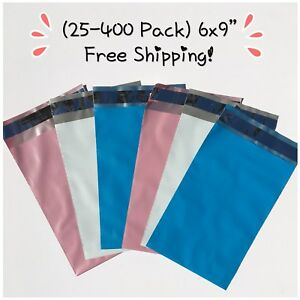 Free Shipping 25 400 Pack 6x9 Mixed Color Designer Poly Mailers