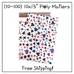 Free Shipping 25 400 Pack 10x13 Blue Hearts Designer Poly Mailers