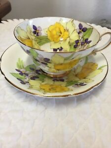 Stanley Tea Cup Saucer Daffodills Fine Bone China Eng Hand Painted Replacement
