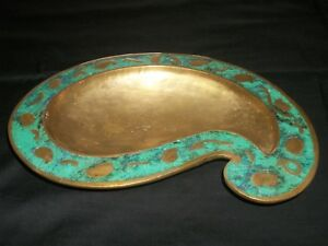 Large Pepe Mendoza Brass And Turquoise Inlay Dish 50s Mid Century Modern