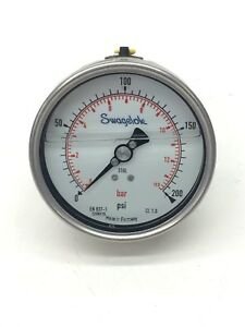 Swagelok Wikai Pressure Gauge 0 200 Psi Liquid Filled Stainless Steel 1 4 Npt