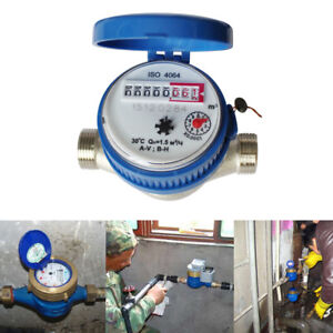 1 5 M3 h Water Meter Flow Cold Water House Garden Connector With Free Fitting Us