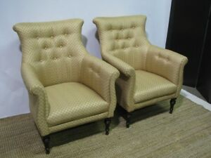 Pair Of Mint Sherrill English Regency Style Upholstered Chairs Perfect