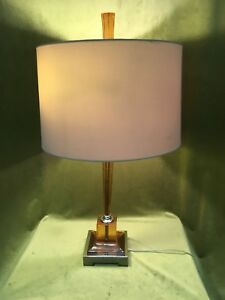 Mid Century Modern Atomic Smokey Amber Lucite Table 3 Way Lamp Light Hollywood