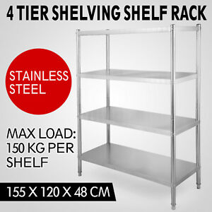 Adjustable 4 Tier 47 x 61 x19 Shelving Heavy Duty Rack Stainless Steel Shelf