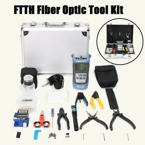 25pcs Fiber Optic Ftth Tool Kit Fc 6s Fiber Cleaver power Meter Stripper plier